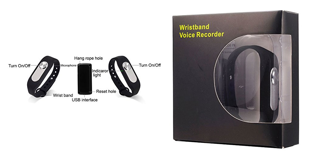 Digital Audio Voice Recorder 8GB MP3 Player Voice Activated Wrist Watch Bracelet Recorder